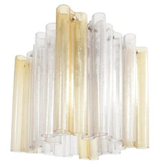 Venini Flush Mount Pendant Light, Murano Tube Glass, Fancy 1960 Italian Design
