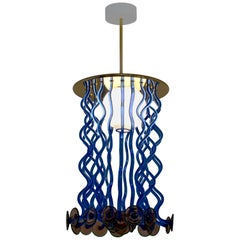 Venini Formosa Pendant Light in Blue and Purple by Ettore Sottsass