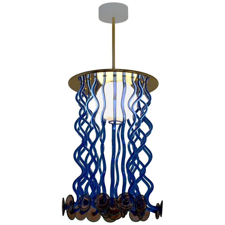 Venini Formosa Pendant Light in Blue and Purple by Ettore Sottsass For Sale