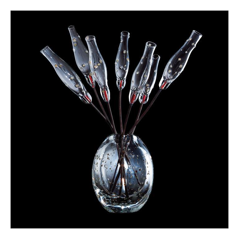 Modern Venini Fuochi Argentati Glass Flower Sculpture by Giorgio Vigna For Sale