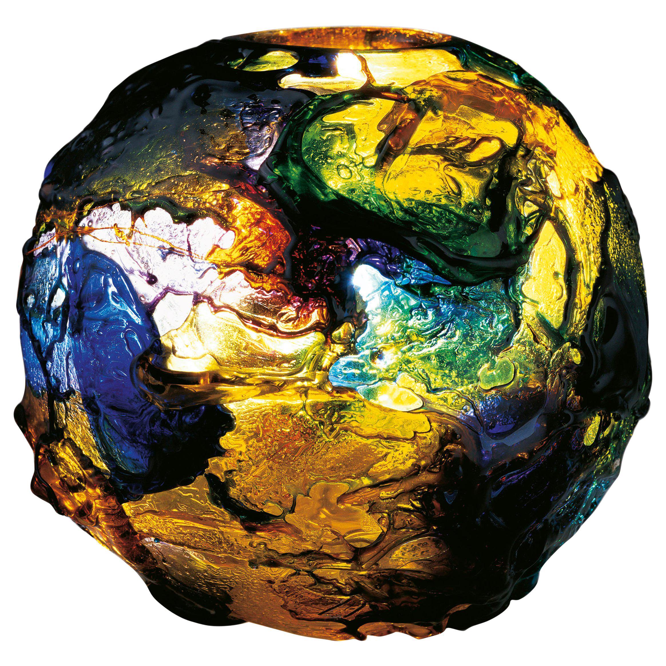 Venini Geacolor Glass Vase in Multi-Color Swirls by Gae Aulenti