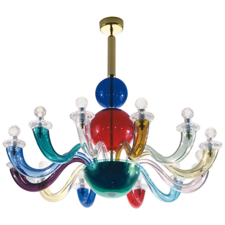 Venini Gio Ponti 12-Arm Chandelier in Multicolor by Gio Ponti For Sale