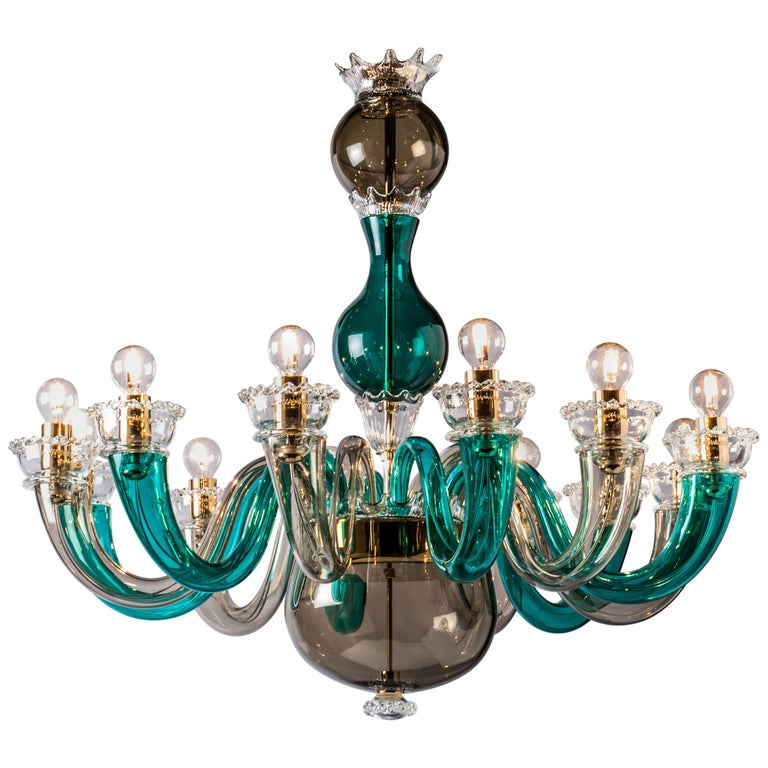 Venini Gio Ponti Chandelier in Grey and Green by Gio Ponti For Sale
