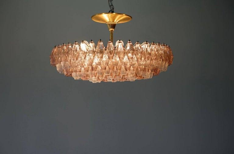 Mid-20th Century Venini Glass Chandelier Lamp Light Poliedri by Carlo Scarpa For Sale