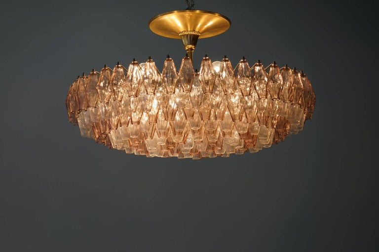 Blown Glass Venini Glass Chandelier Lamp Light Poliedri by Carlo Scarpa For Sale