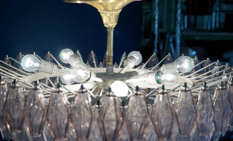 Venini Glass Chandelier Lamp Light Poliedri by Carlo Scarpa For Sale 2