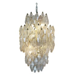 "Venini Glass Chandelier ""Polyhedr"" by Carlo Scarpa, 1950s"