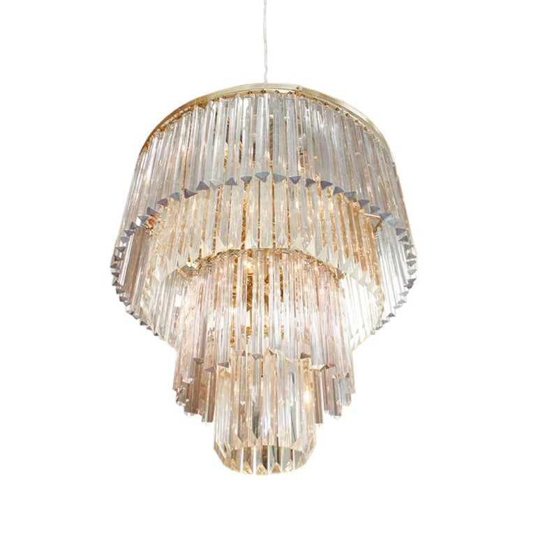 Suspension lamp with structure composed by twenty one light spots, made in glass with two hundred eighty pieces of Venini Glass.