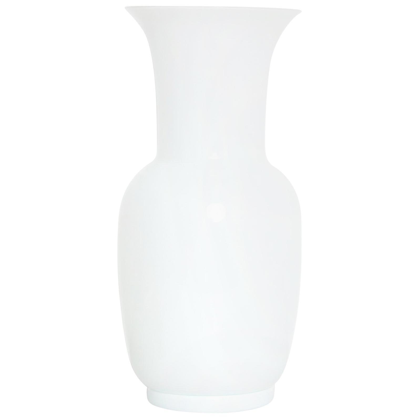 Italian Mid Century Modern Venini White Glass Vase by Tomaso Buzzi, 1983