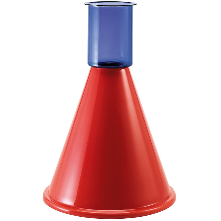 Venini Goburam Glass Vase in Midnight Blue and Red by Ettore Sottsass For Sale