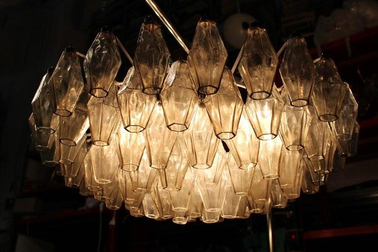 Mid-20th Century Venini Great Round Chandelier Poliedri Grey White Color Murano Glass, 1950s For Sale