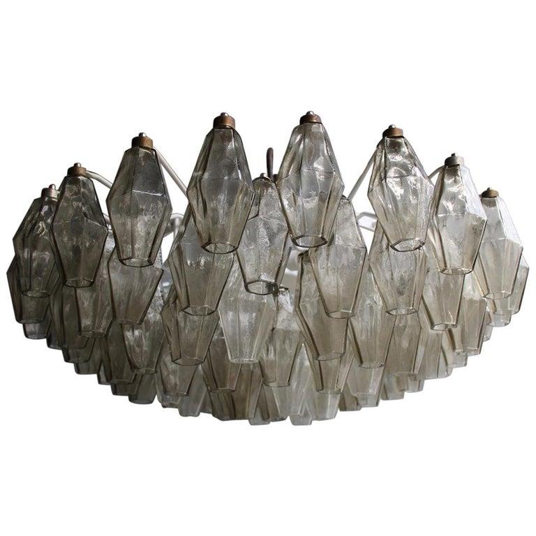 Venini Great Round Chandelier Poliedri Grey White Color Murano Glass, 1950s For Sale