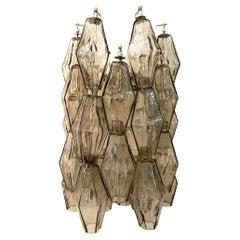 Venini Grey Glass Poliedri / Polyhedral Sconce by Tobia Scarpa