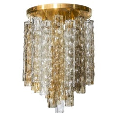 Venini Hollywood Regency Murano Chandelier with Multi-Color Glass Pendants