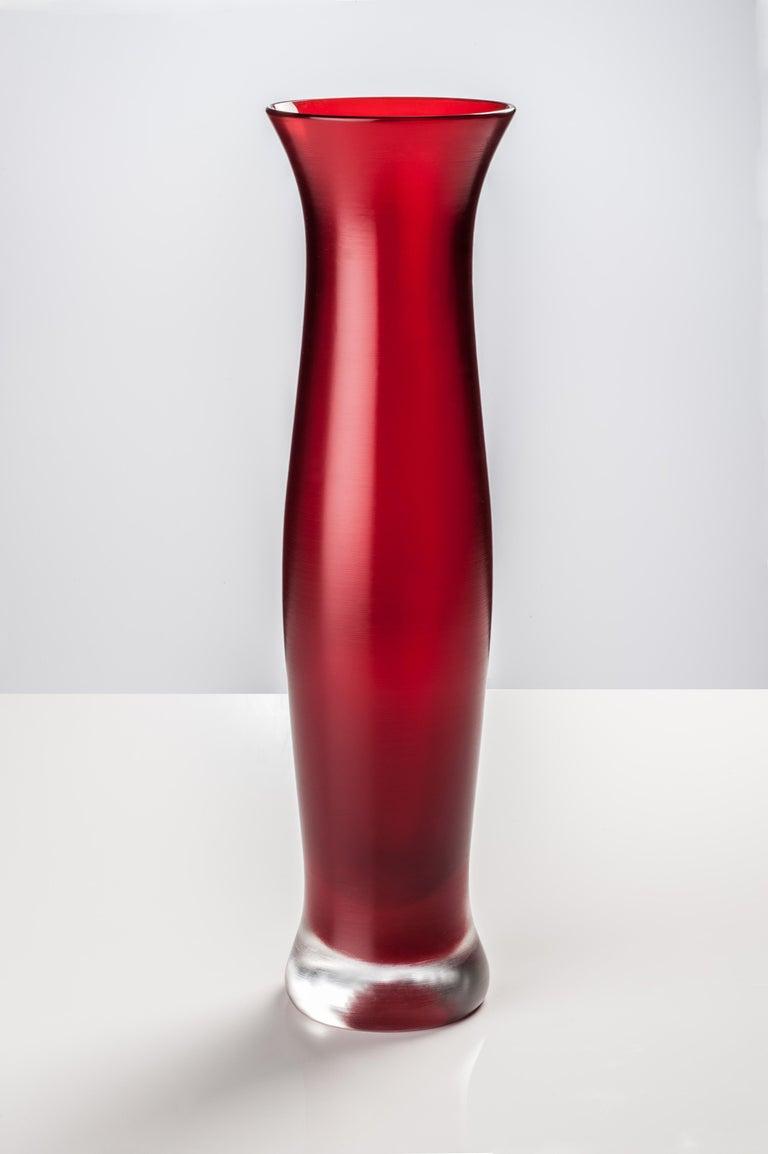 Modern Venini Incisi Glass Vase in Garnet Red by Paolo Venini For Sale