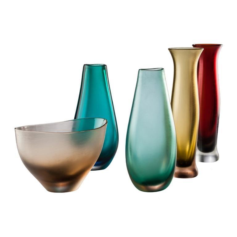 Italian Venini Incisi Glass Vase in Garnet Red by Paolo Venini For Sale