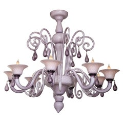 Venini Influenced, Murano 8 Arm Lilac Cased Glass Chandelier, Italy