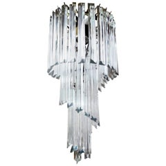 Venini Inspired Clear Murano Glass Prism Spiral Chandelier