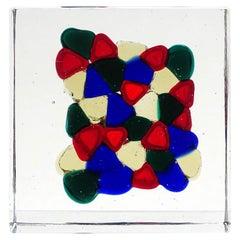 Venini Italia Signed Triangle Pezzato Murano Italian Art Glass Paperweight