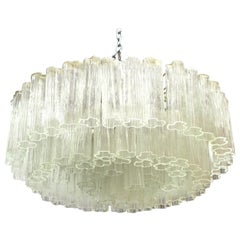 Venini Italian Mid-Century Modern Circular Chandelier with Tronchi Glass Tubes