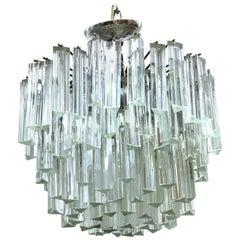 Venini Italian Mid-Century Modern Triedri Glass Prism Chandelier