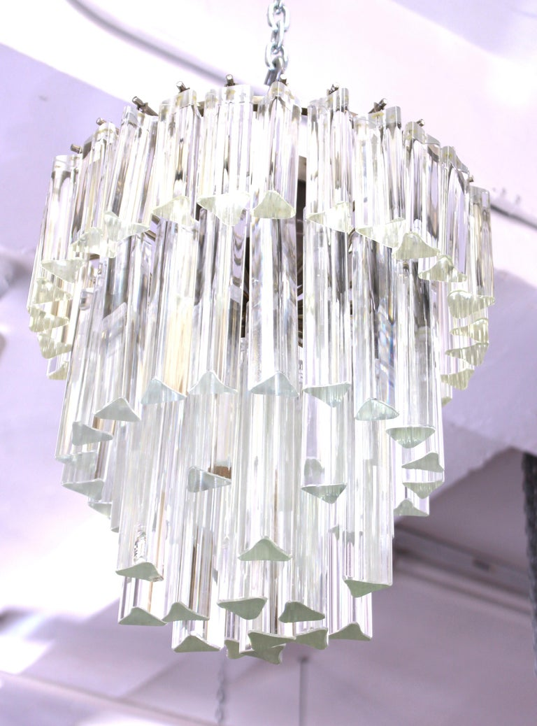 20th Century Venini Italian Modern Glass Chandelier with Triedri Prisms For Sale