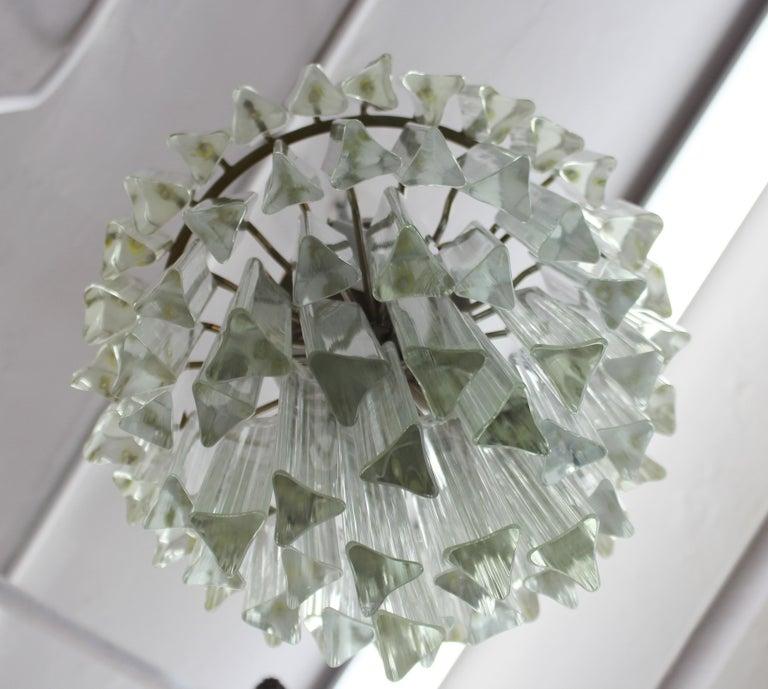 Venini Italian Modern Glass Chandelier with Triedri Prisms For Sale 1