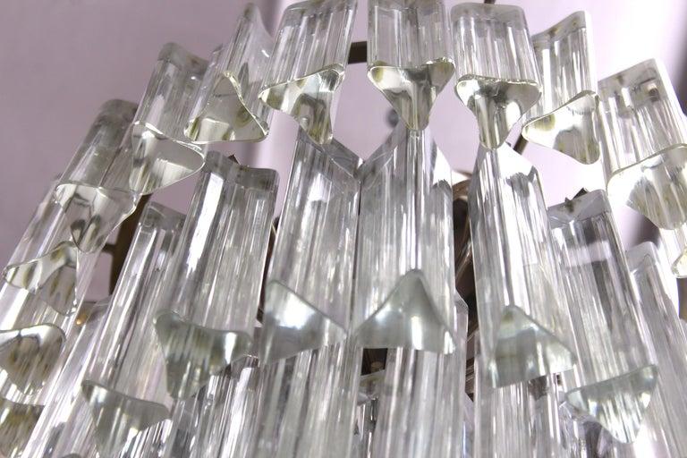 Venini Italian Modern Glass Chandelier with Triedri Prisms For Sale 3