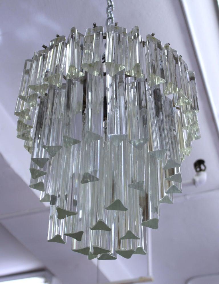Venini Italian Modern Glass Chandelier with Triedri Prisms For Sale 4