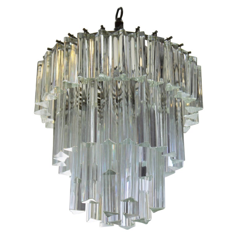 Venini Italian Modern Glass Chandelier with Triedri Prisms For Sale