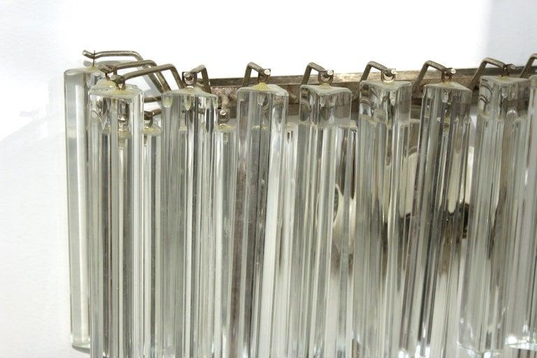 Metal Venini Italian Modern Glass Sconces with Triedri Prisms For Sale