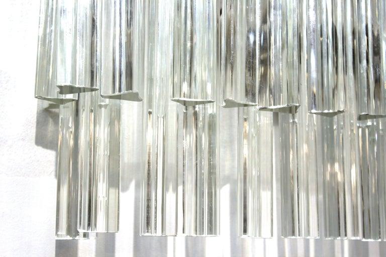 Venini Italian Modern Glass Sconces with Triedri Prisms For Sale 1