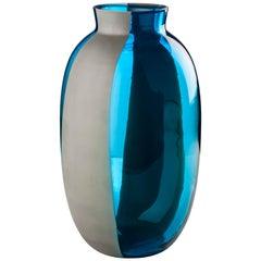 Venini Koori Tall Vase in Aquamarine and Concrete by Emmanuel Babled
