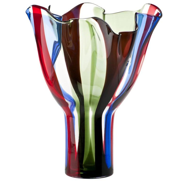 Venini Kukinto Glass Vase in Multi-Color by Timo Sarpaneva For Sale