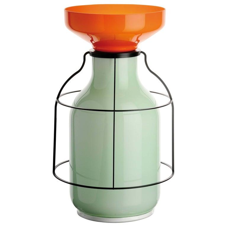 Venini Lanterne Vase in Grass Green & Orange by Jay Osgerby & Edward Barber For Sale