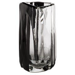 Venini Large Black Belt Triangular Glass in Crystal and Black by Peter Marino