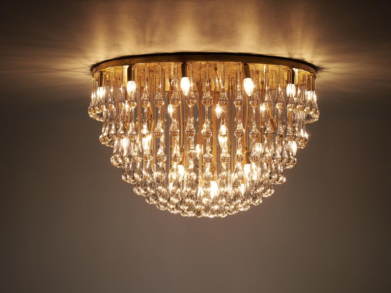 Mid-Century Modern Venini Large Chandelier in Brass with Glass Drops For Sale