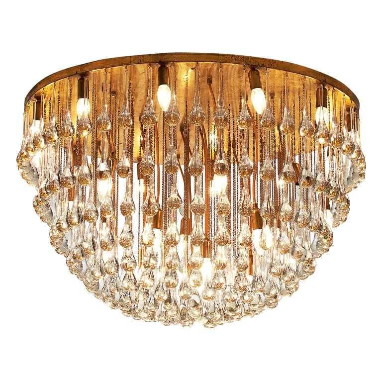 Venini Large Chandelier in Brass with Glass Drops For Sale