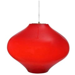 Venini Attributed Large Red Glass Pendant, Italy, 1960s