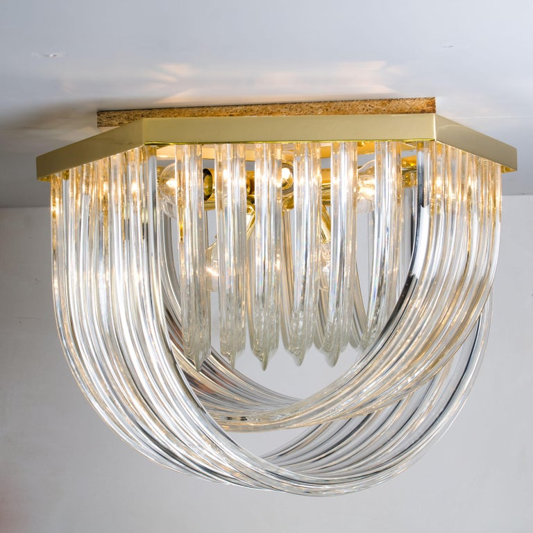 Venini Light Fixture, Curved Crystal Glass and Gilt Brass, Italy For Sale 6