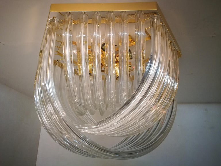 Venini Light Fixture, Curved Crystal Glass and Gilt Brass, Italy For Sale 7