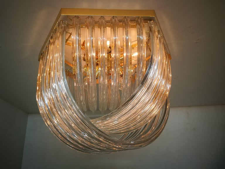 Venini Light Fixture, Curved Crystal Glass and Gilt Brass, Italy For Sale 8
