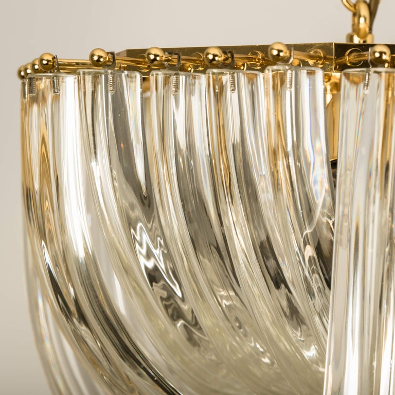 20th Century Venini Light Fixture, Curved Crystal Glass and Gilt Brass, Italy For Sale