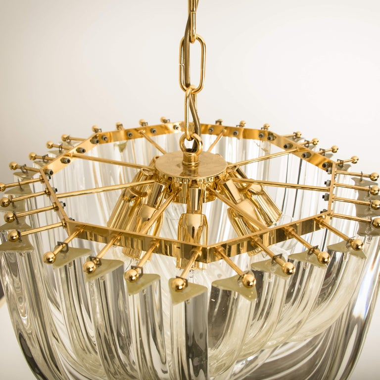 Venini Light Fixture, Curved Crystal Glass and Gilt Brass, Italy For Sale 2