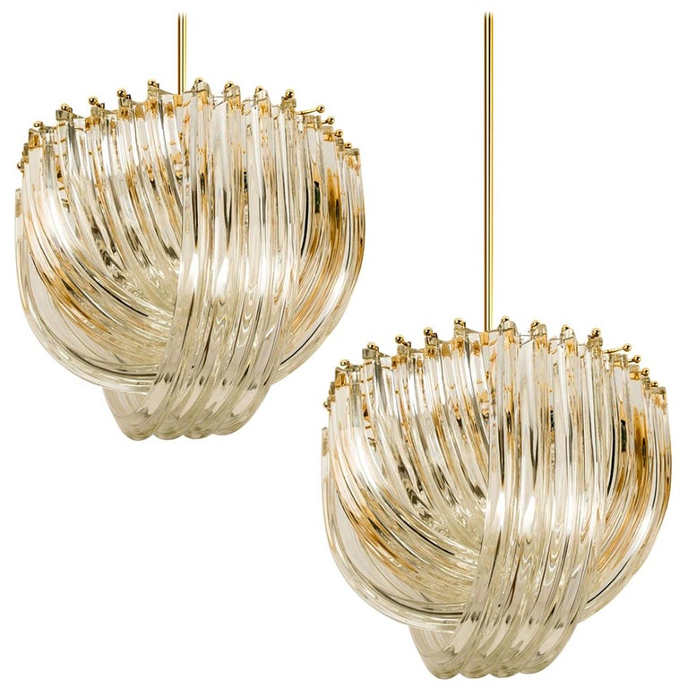 Venini Light Fixture, Curved Crystal Glass and Gilt Brass, Italy For Sale