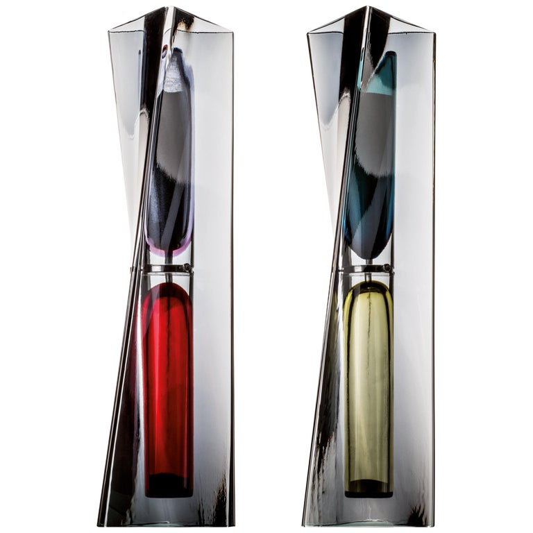 Venini Limited Edition Ando Time Hour Glass Set in Grape by Tadao Ando For Sale