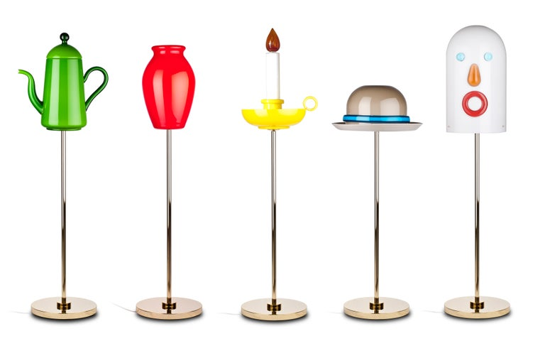 Modern Venini Mae West Candlestick Floor Light in Yellow by Studio Job For Sale