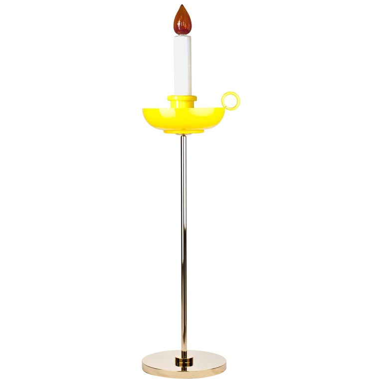 Venini Mae West Candlestick Floor Light in Yellow by Studio Job For Sale