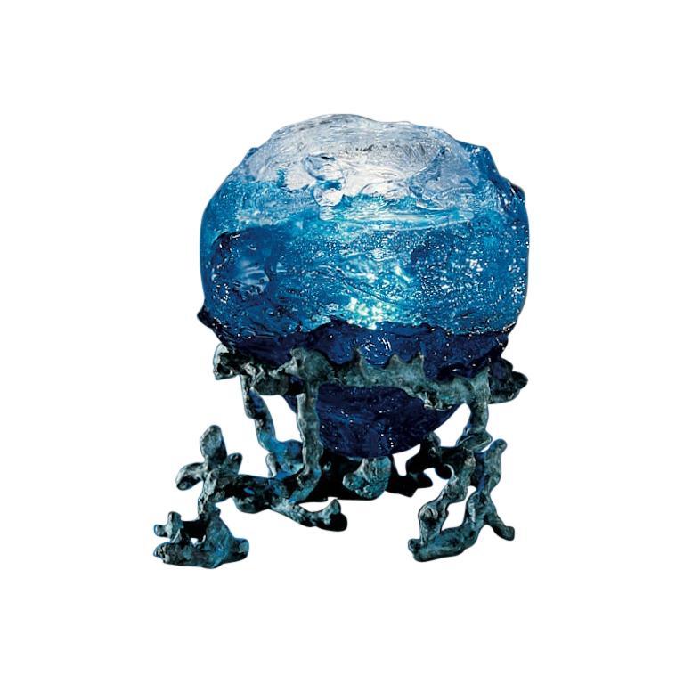 Venini Mappamondo Table Light in Horizon and Sapphire by Sandro Chia  For Sale