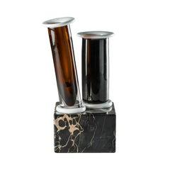 Venini Marito E Moglie Vase in Glass and Marble by Ettore Sottsass